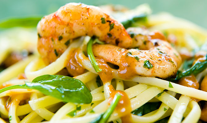 Prawn-and-Spinach-Linguine