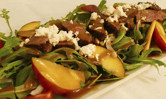 Beef and peach salad